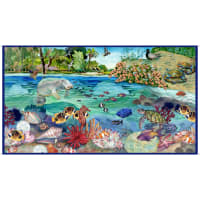 "QT Fabrics This & That IV Manatee 24"" Panel Blue"