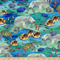 QT Fabrics This & That IV Manatees Blue