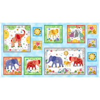 "QT Fabrics Playful Elephants 24"" Picture Patch Panel"