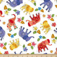 QT Fabrics Playful Elephants Elephant Toss White