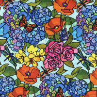 QT Fabrics Stained Glass Garden Stained Glass Floral Multi