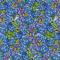 QT Fabrics Stained Glass Garden Hydrangeas Blue
