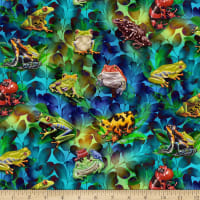 Jewels Of The Jungle Digital Frog And Foliage Cerulean