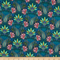 Blooming Paisleys Digital Blooming Paisley Indigo Multi