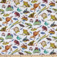 Jewels Of The Jungle Digital Frog And Dragonfly Allover White