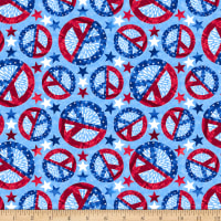 One Land, One Flag  Patriotic Peace Signs Blue