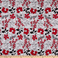 Red Alert Floral with Background Squares Gray