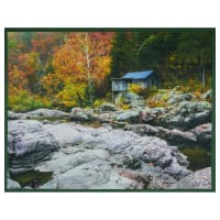 """Watermill County Watermill with Rocks 36"""" Panel Gray"""