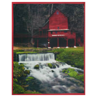 """Watermill County Watermill with Stream 36"""" Panel Red"""