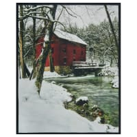 """Watermill Country Watermill with Snow 36"""" Panel White"""