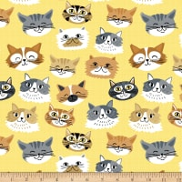 Comfy Flannel Print Cat Faces Yellow