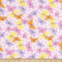 Comfy Flannel Print Colorful Butterflies & Flowers Pink