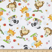 Comfy Flannel Print Animal Toss White