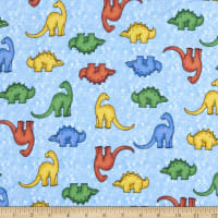 Comfy Flannel Print Multicolored Dinosaurs Blue