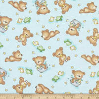 Comfy Flannel Print Teddy Bears & Toys Baby Blue