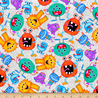 Comfy Flannel Print Funny Monsters Grey