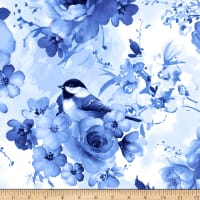 Timeless Treasures Bluebird Flowers & Birds Blue