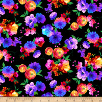Timeless Treasures Butterfly Magic Bright Floral Black