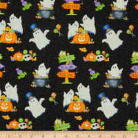 Henry Glass Glow In The Dark Glow Ghosts Tossed Ghosts, Pumpkins & Candy Black