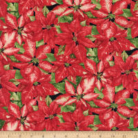 Henry Glass Holiday Botanical Packed Poinsettias Red