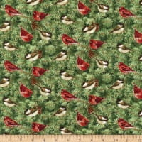 Henry Glass Holiday Botanical Birds On Pine Branches Green