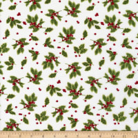 Henry Glass Holiday Botanical Tossed Holly Leaves Cream