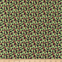 Henry Glass Holiday Botanical Packed Holly Leaves Multi