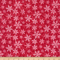 Henry Glass Flannel Winter Elegance Snowflakes Red