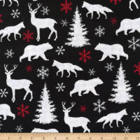 Henry Glass Flannel Winter Elegance Forest Animal Silhouettes Black/White