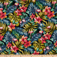 Trans-Pacific Textiles Tropic Flamingos Black