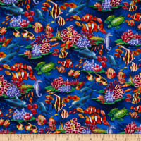 Trans-Pacific Textiles Dolphin & Sea Friends Navy