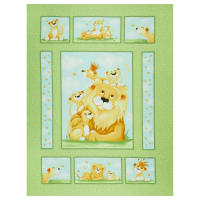 "Susybee Lyon the Lion 36"" Quilt Panel Green"