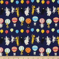 Kaufman Sevenberry Bearry Land Canvas Animals And Balloons Navy