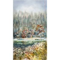 "Hoffman Digital Woodland Whispers Scenic Cabin 24"" Panel River Rock"