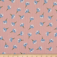 Fabric Merchants Margaret Rayon Challis Floral Pattern Blush/Blue