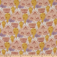 Fabric Merchants Margaret Rayon Challis Autumn Harvest Ivory/Brown/Gold