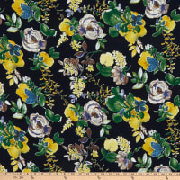 Fabric Merchants Margaret Rayon Challis Floral Print Navy/Yellow/Green