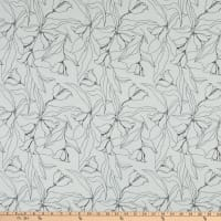 Fabric Merchants Margaret Rayon Challis Floral Stencil White/Black