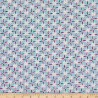 Fabric Merchants Margaret Rayon Challis Floral Windmill Blue/White/Wine