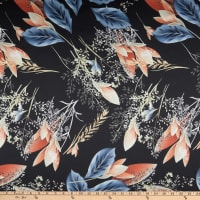 Telio Koko Stretch Matte Satin Charmeuse Floral Print Black