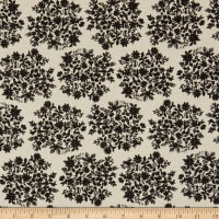 Kaufman Sevenberry Cotton Flax Prints Small Flowers Black