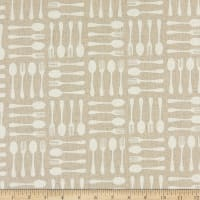 Kaufman Sevenberry Cotton Flax Prints Utensils Natural