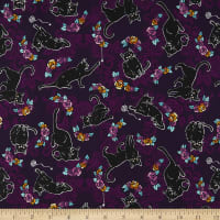 Kaufman Totally Twilight Cats And Flowers Plum