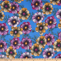 Fabric Merchants Double Brushed Stretch Jersey Knit Large Floral Print Blue/Purple