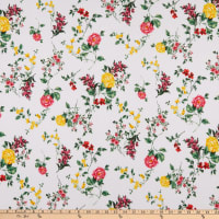 Fabric Merchants ITY Stretch Jersey Knit Floral White/Pink/Yellow