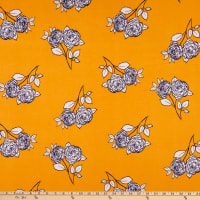 Fabric Merchants ITY Stretch Jersey Knit Brushed Floral Mustard/White
