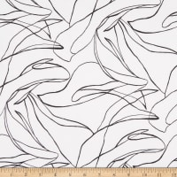 Fabric Merchants ITY Stretch Jersey Knit Abstract Lines White/Black