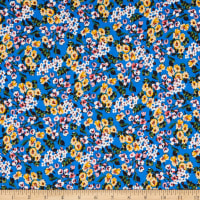 Fabric Merchants ITY Stretch Jersey Knit Allover Floral Blue/Yellow