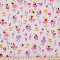 Comfy Flannel Happy Bees & Flowers Pink