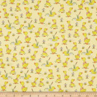 Comfy Flannel Playful Ducks Yellow